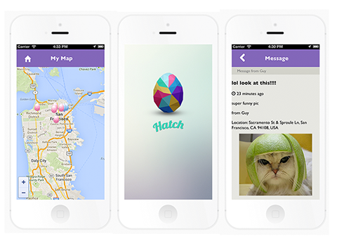 iPhone screenshots of Hatch messaging app